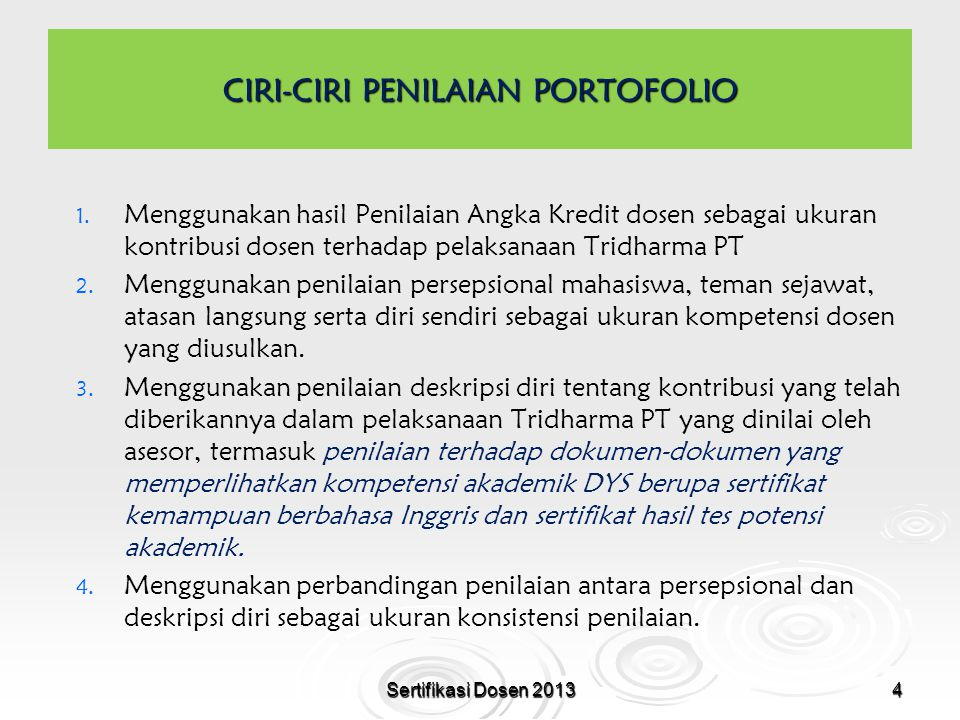 15 SKORING UNTUK PENILAIAN DESKRIPSI DIRI KOMPETENSI JML BUTIR RENTANG SKOR PEDAGOGIK PROFESIONAL KEPRIBADIAN SOSIAL 2424 - 148 Sertifikasi Dosen 2013