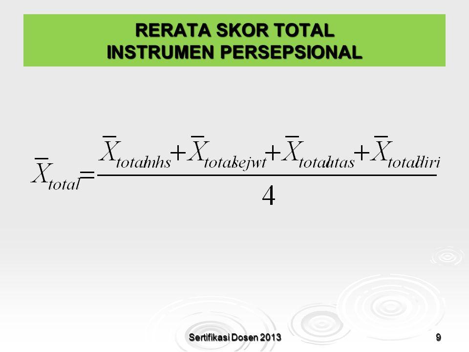 RERATA SKOR TOTAL INSTRUMEN PERSEPSIONAL 9Sertifikasi Dosen 2013