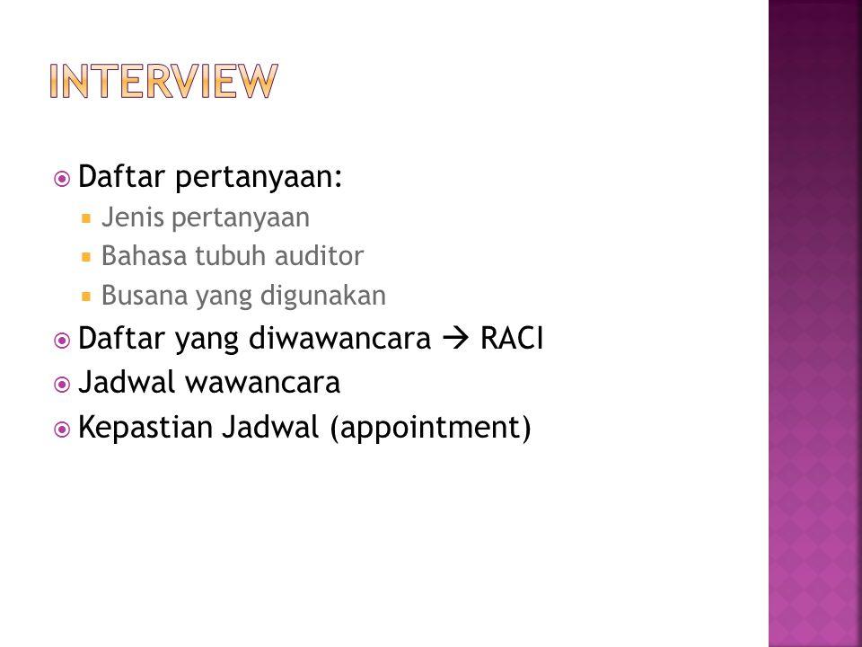  Daftar pertanyaan:  Jenis pertanyaan  Bahasa tubuh auditor  Busana yang digunakan  Daftar yang diwawancara  RACI  Jadwal wawancara  Kepastian
