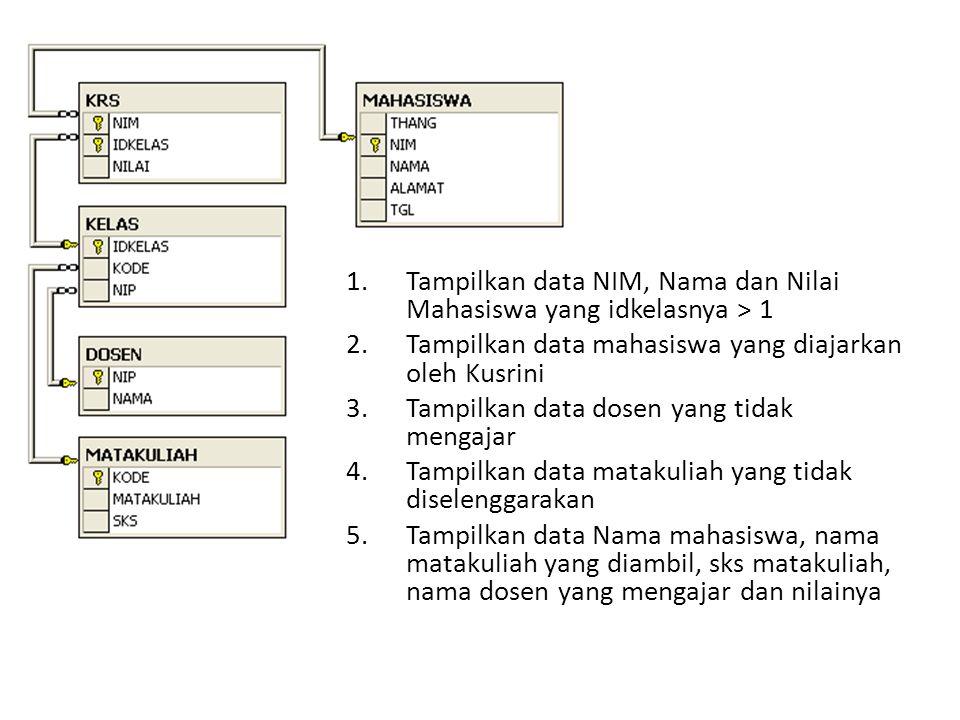 1.Tampilkan data NIM, Nama dan Nilai Mahasiswa yang idkelasnya > 1 2.Tampilkan data mahasiswa yang diajarkan oleh Kusrini 3.Tampilkan data dosen yang