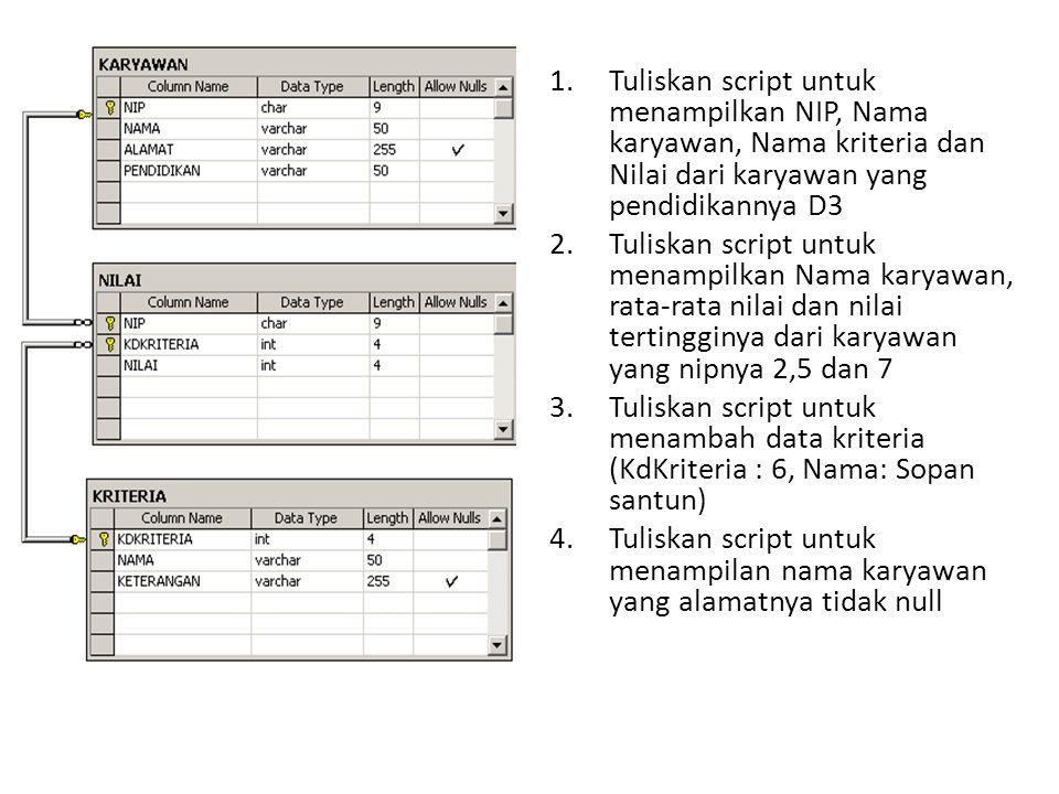 1.Tuliskan script untuk menampilkan NIP, Nama karyawan, Nama kriteria dan Nilai dari karyawan yang pendidikannya D3 2.Tuliskan script untuk menampilka