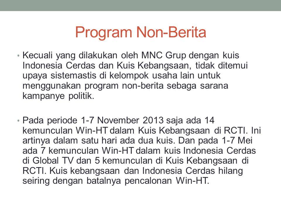 Topik Berita : Strategi Pembingkaian Kontestan Politik Oleh Stasiun Televisi Topik khas Jokowi pada 1-7 Mei 2014 adalah Kinerja Pemda DKI yang mencapai 13% dari seluruh berita Jokowi di 11 Stasiun televisi (Sebagian besar disumbang oleh Metro TV).