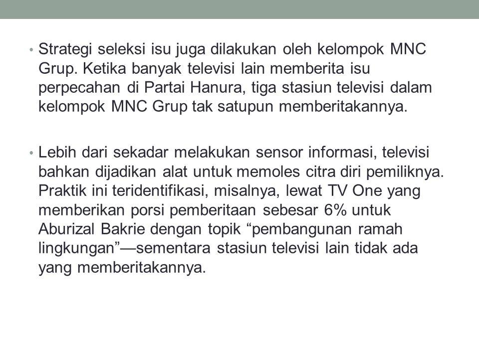 Strategi seleksi isu juga dilakukan oleh kelompok MNC Grup.