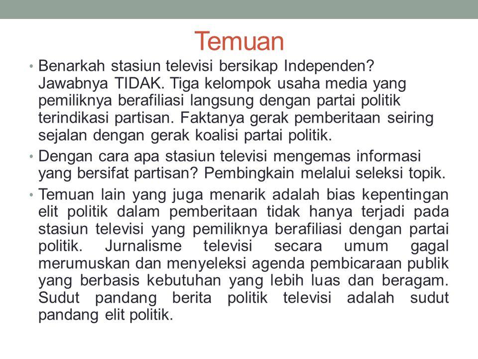 Metro TV Sebelum pemilu legislatif berdasar pada data Remotivi 1- 7 November 2013, frekuensi berita Jokowi berjumlah 12%.