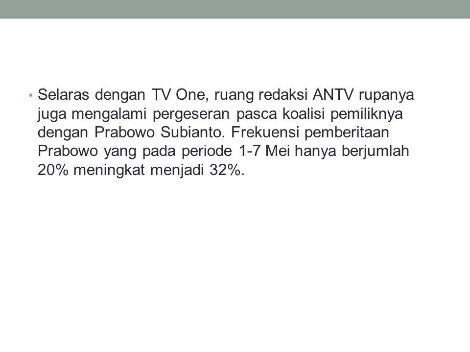 Selaras dengan TV One, ruang redaksi ANTV rupanya juga mengalami pergeseran pasca koalisi pemiliknya dengan Prabowo Subianto.