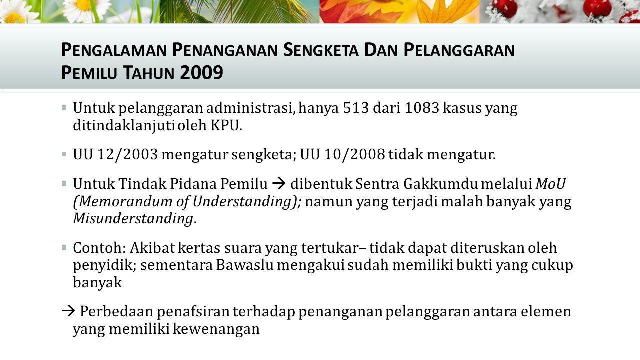 P ENGALAMAN P ENANGANAN S ENGKETA D AN P ELANGGARAN P EMILU T AHUN 2009  Untuk pelanggaran administrasi, hanya 513 dari 1083 kasus yang ditindaklanju