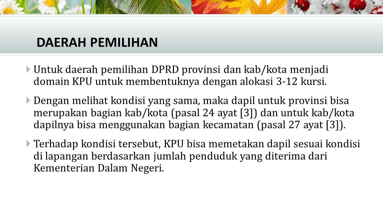 PENCALONAN  Terdapat sejumlah persyaratan administratif bagi bakal calon anggota DPR dan DPRD (Pasal 51) yang harus dipenuhi.