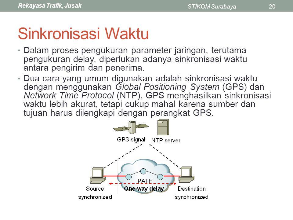 Rekayasa Trafik, Jusak STIKOM Surabaya20 Sinkronisasi Waktu Dalam proses pengukuran parameter jaringan, terutama pengukuran delay, diperlukan adanya s