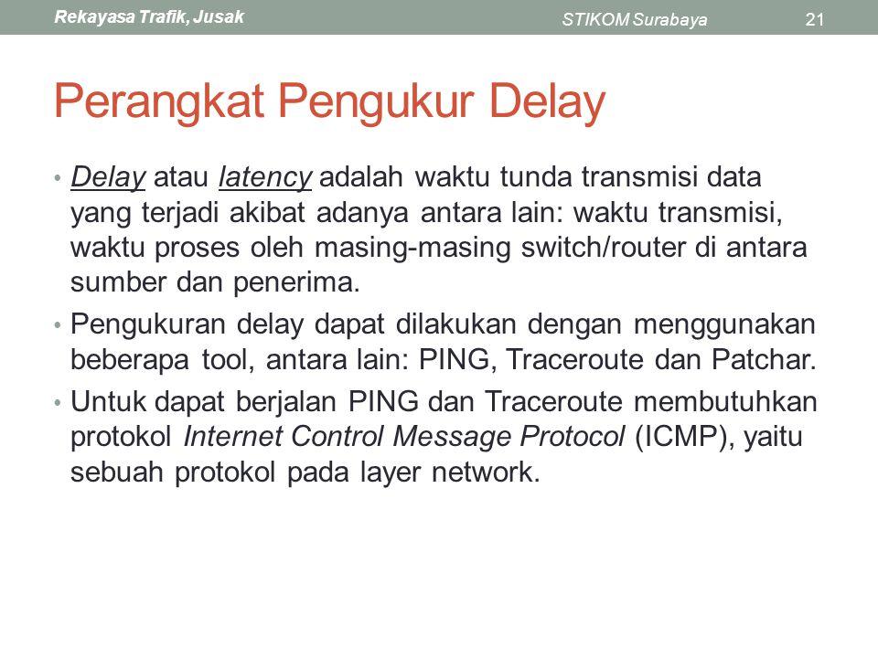 Rekayasa Trafik, Jusak STIKOM Surabaya21 Perangkat Pengukur Delay Delay atau latency adalah waktu tunda transmisi data yang terjadi akibat adanya anta