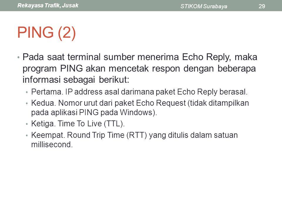Rekayasa Trafik, Jusak STIKOM Surabaya29 PING (2) Pada saat terminal sumber menerima Echo Reply, maka program PING akan mencetak respon dengan beberap