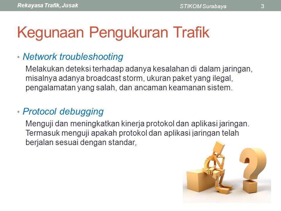 Rekayasa Trafik, Jusak STIKOM Surabaya3 Kegunaan Pengukuran Trafik Network troubleshooting Melakukan deteksi terhadap adanya kesalahan di dalam jaring
