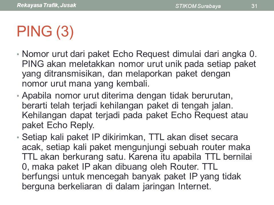 Rekayasa Trafik, Jusak STIKOM Surabaya31 PING (3) Nomor urut dari paket Echo Request dimulai dari angka 0. PING akan meletakkan nomor urut unik pada s