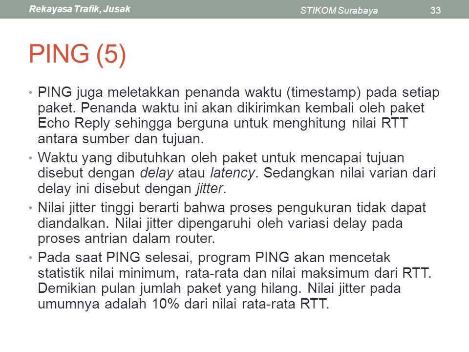 Rekayasa Trafik, Jusak STIKOM Surabaya33 PING (5) PING juga meletakkan penanda waktu (timestamp) pada setiap paket. Penanda waktu ini akan dikirimkan