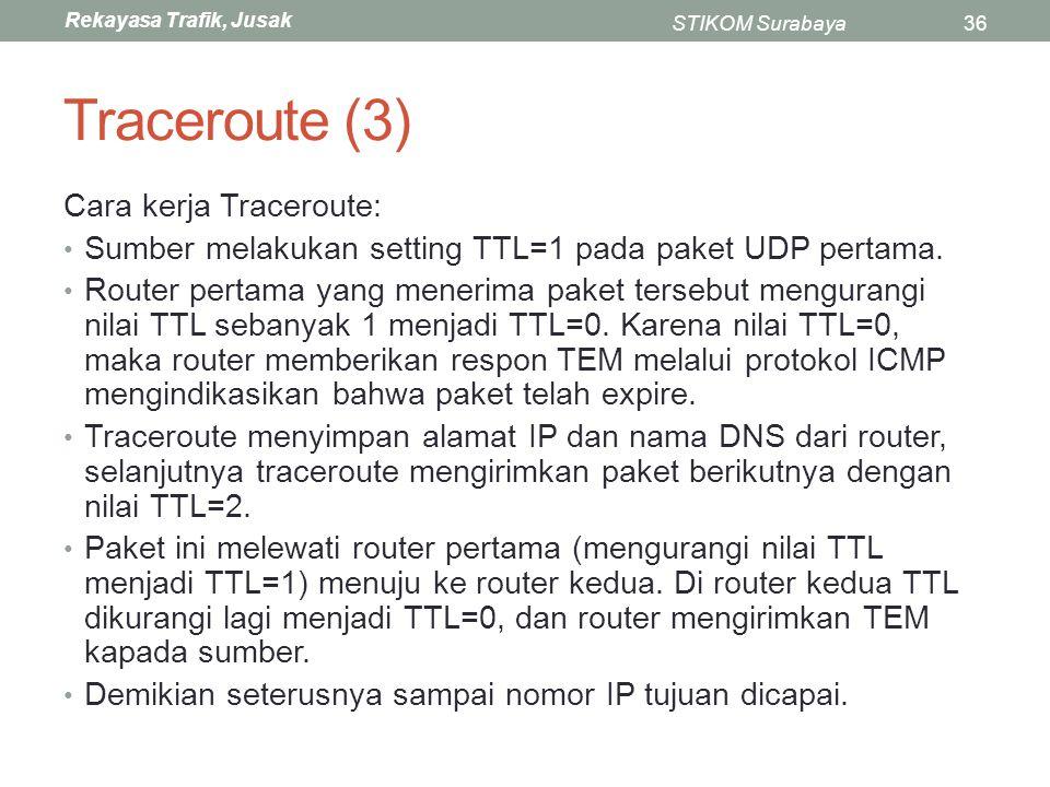 Rekayasa Trafik, Jusak STIKOM Surabaya36 Traceroute (3) Cara kerja Traceroute: Sumber melakukan setting TTL=1 pada paket UDP pertama. Router pertama y