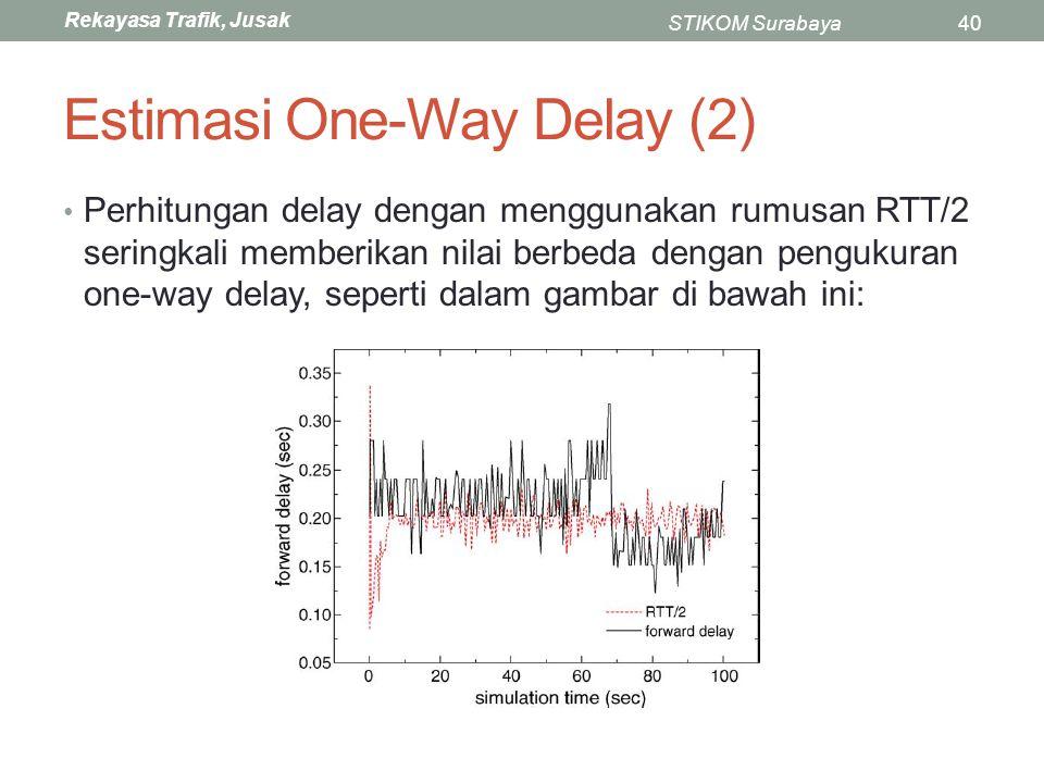 Rekayasa Trafik, Jusak STIKOM Surabaya40 Estimasi One-Way Delay (2) Perhitungan delay dengan menggunakan rumusan RTT/2 seringkali memberikan nilai ber