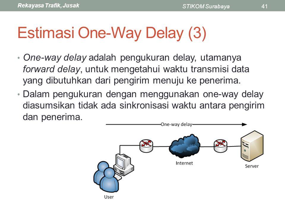 Rekayasa Trafik, Jusak STIKOM Surabaya41 Estimasi One-Way Delay (3) One-way delay adalah pengukuran delay, utamanya forward delay, untuk mengetahui wa