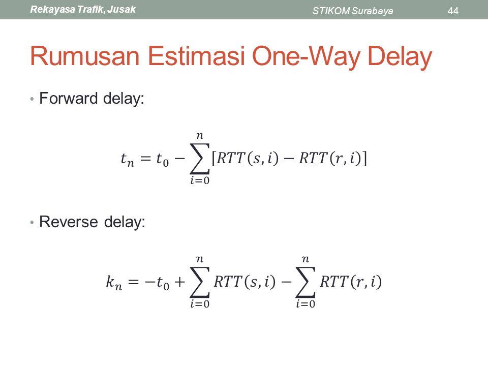 Rekayasa Trafik, Jusak STIKOM Surabaya44 Rumusan Estimasi One-Way Delay