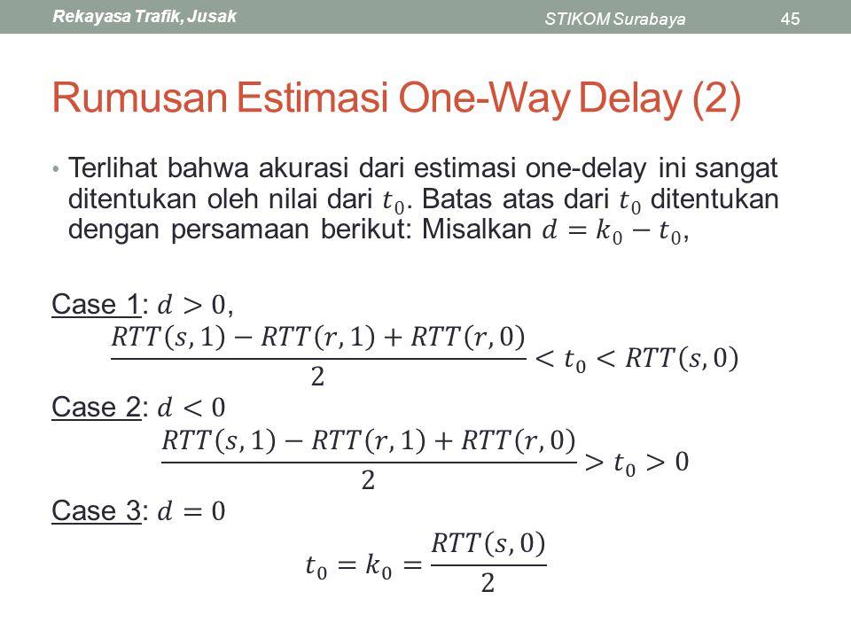 Rekayasa Trafik, Jusak STIKOM Surabaya45 Rumusan Estimasi One-Way Delay (2)