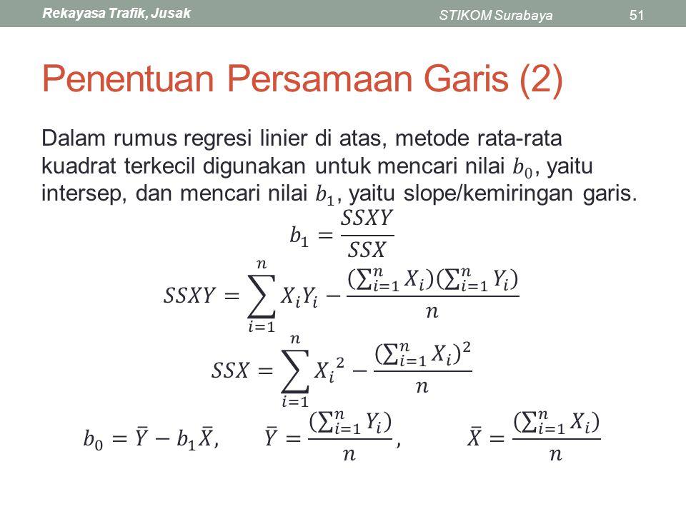 Rekayasa Trafik, Jusak STIKOM Surabaya51 Penentuan Persamaan Garis (2)