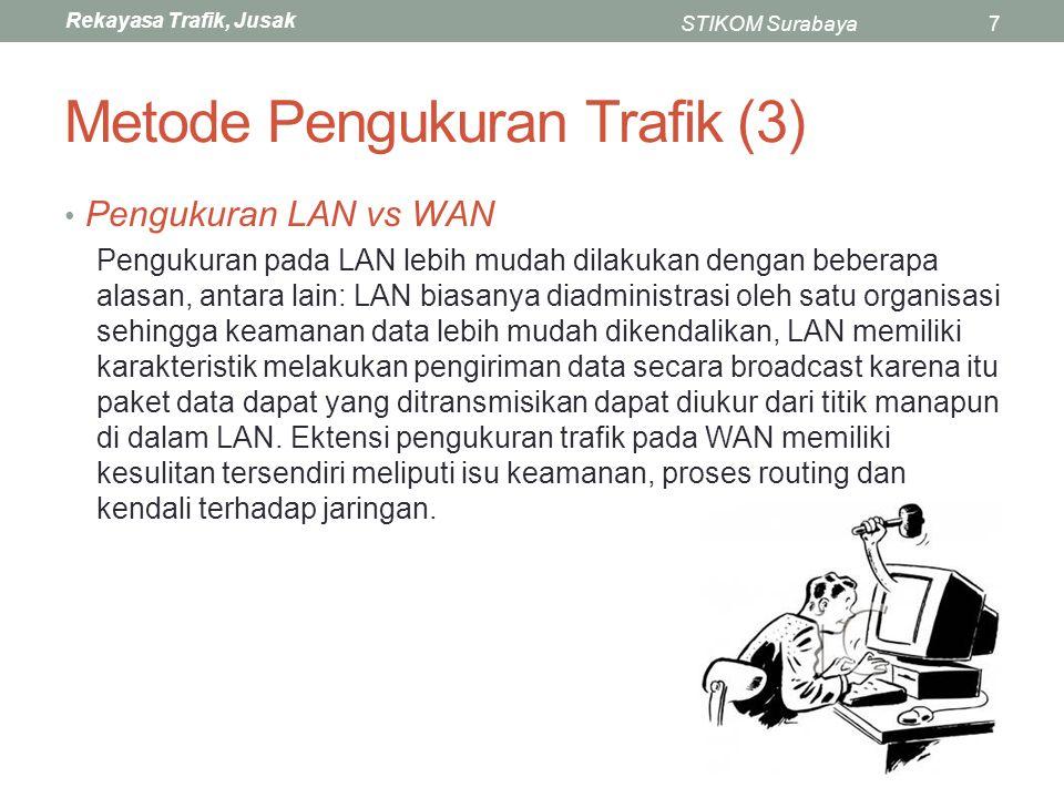 Rekayasa Trafik, Jusak STIKOM Surabaya38 Contoh Traceroute C:\Users>tracert www.telkom.co.id Tracing route to cc00069.ccgslb.com [180.240.133.3] over a maximum of 30 hops: 1 1 ms 1 ms 1 ms 172.25.82.254 2 1 ms 1 ms <1 ms 172.25.80.1 3 8 ms 2 ms 1 ms 222.124.29.225 4 * 31 ms 30 ms telin.iix.net.id [103.28.74.243] 5 31 ms 30 ms 30 ms 117.168.22.103.telin.sg [103.22.168.117] 6 31 ms 31 ms 32 ms 6.132.240.180.telin.sg [180.240.132.6] 7 31 ms 30 ms * 3.133.240.180.static.telin.sg [180.240.133.3] 8 31 ms 30 ms 30 ms 3.133.240.180.static.telin.sg [180.240.133.3] Trace complete.