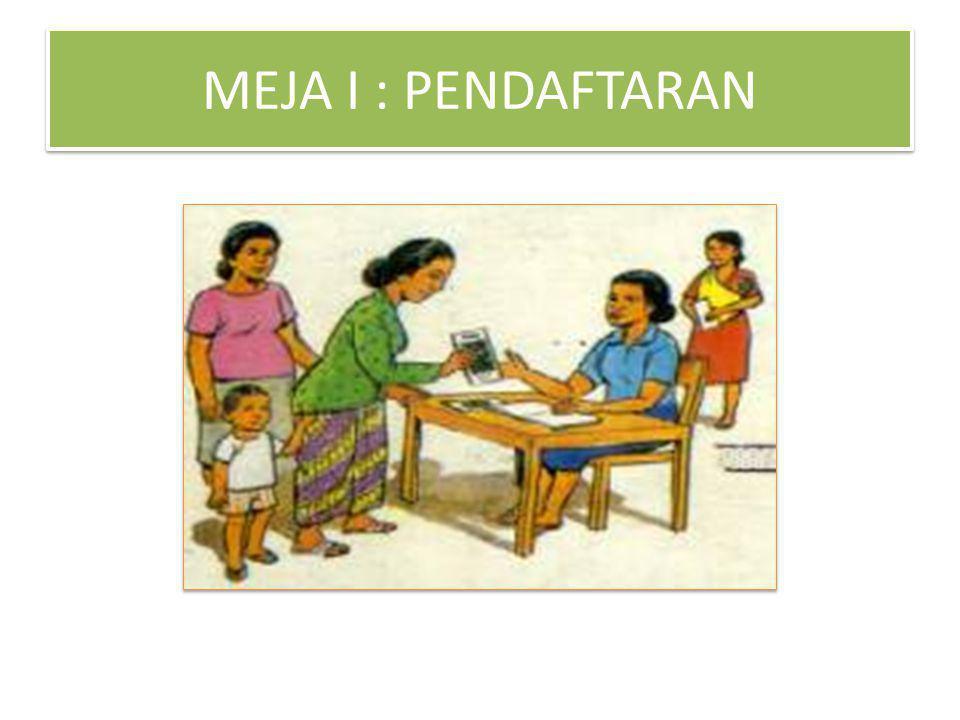MEJA I : PENDAFTARAN