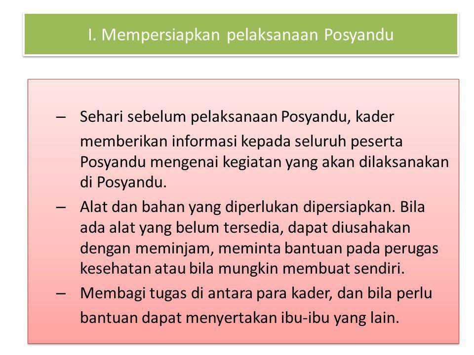 I. Mempersiapkan pelaksanaan Posyandu – Sehari sebelum pelaksanaan Posyandu, kader memberikan informasi kepada seluruh peserta Posyandu mengenai kegia