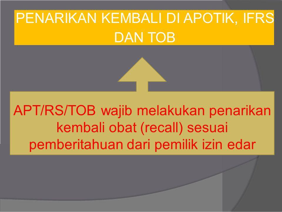 PENARIKAN KEMBALI DI APOTIK, IFRS DAN TOB APT/RS/TOB wajib melakukan penarikan kembali obat (recall) sesuai pemberitahuan dari pemilik izin edar