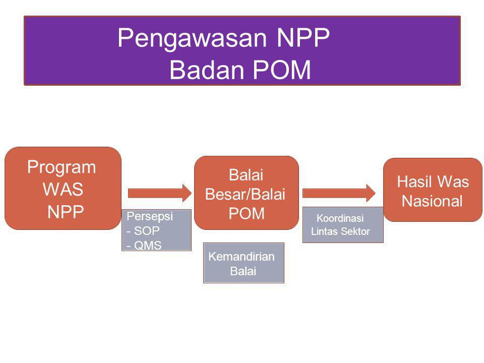 Pengawasan NPP Badan POM Program Balai Hasil Was WAS Besar/Balai Nasional NPP POM Persepsi Koordinasi - SOP Lintas Sektor - QMS Kemandirian Balai
