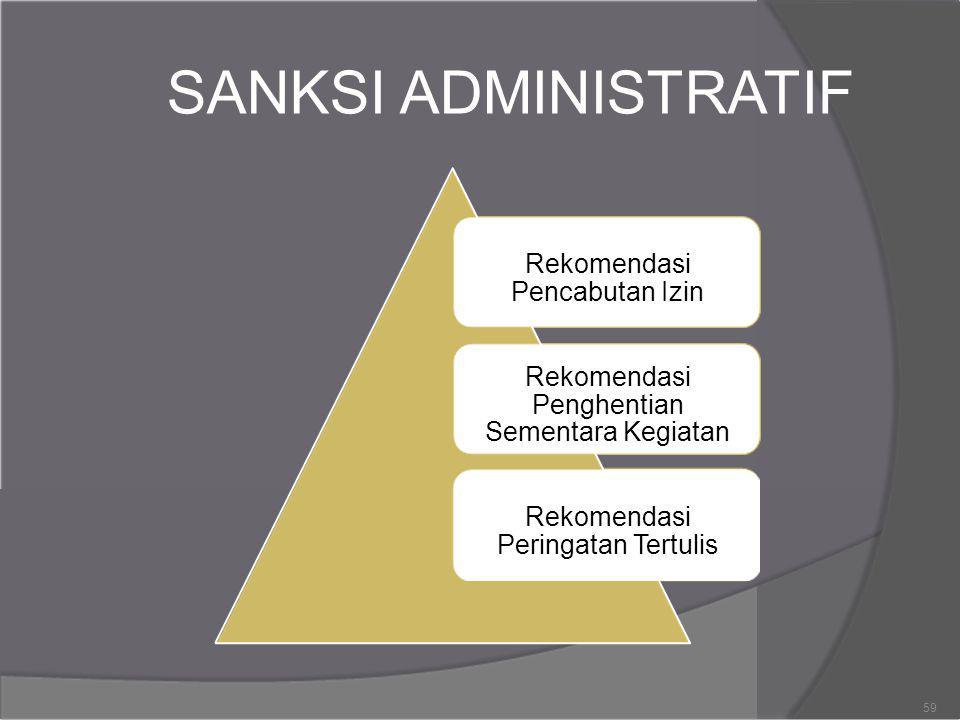 SANKSI ADMINISTRATIF Rekomendasi Pencabutan Izin Rekomendasi Penghentian Sementara Kegiatan Rekomendasi Peringatan Tertulis 59