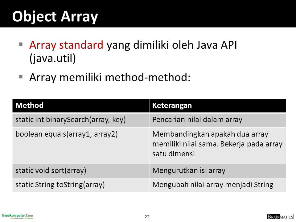 22 Object Array  Array standard yang dimiliki oleh Java API (java.util)  Array memiliki method-method: MethodKeterangan static int binarySearch(arra