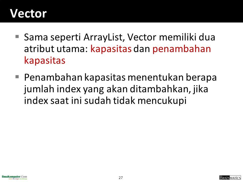 27 Vector  Sama seperti ArrayList, Vector memiliki dua atribut utama: kapasitas dan penambahan kapasitas  Penambahan kapasitas menentukan berapa jumlah index yang akan ditambahkan, jika index saat ini sudah tidak mencukupi
