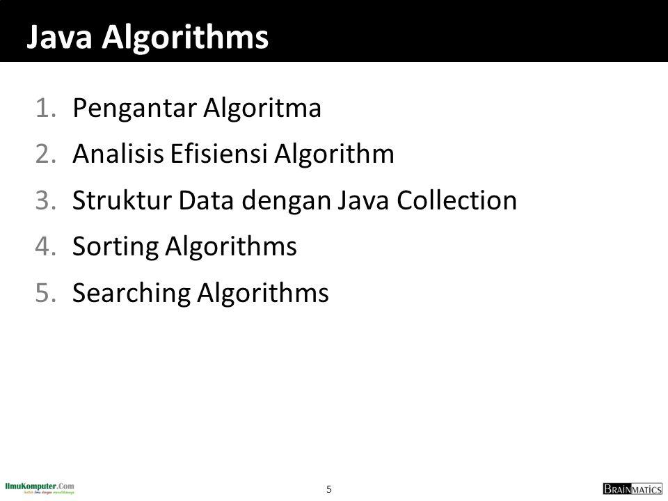 5 Java Algorithms 1.Pengantar Algoritma 2.Analisis Efisiensi Algorithm 3.Struktur Data dengan Java Collection 4.Sorting Algorithms 5.Searching Algorit