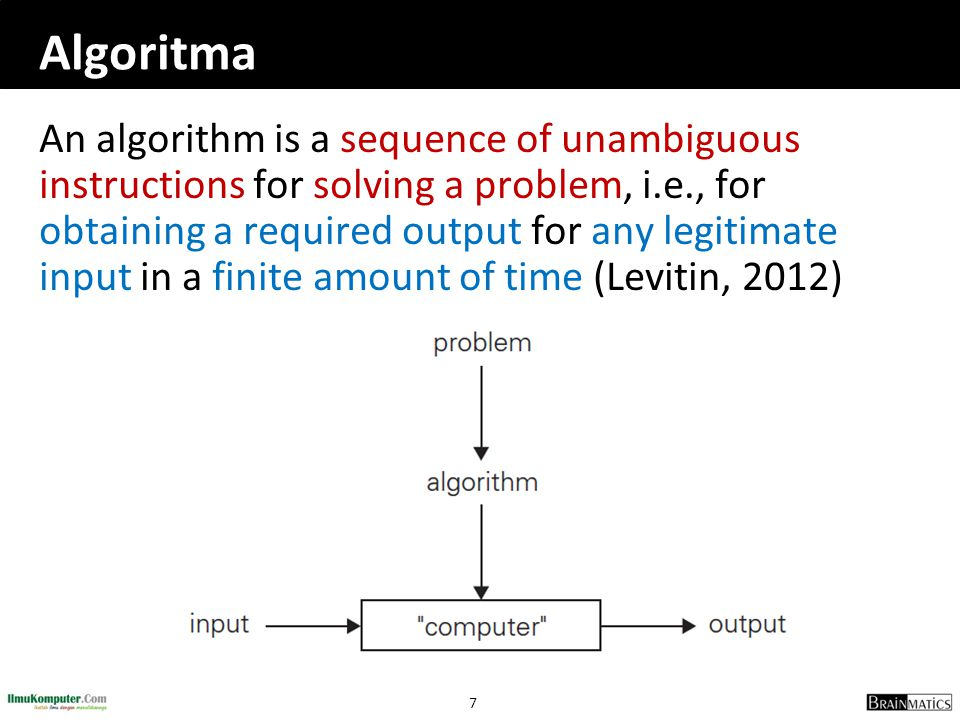 8 Konsep Algoritma  program = algorithm + data structure  The nonambiguity requirement for each step of an algorithm cannot be compromised  The range of inputs for which an algorithm works has to be specified carefully  The same algorithm can be represented in several different ways  There may exist several algorithms for solving the same problem  Algorithms for the same problem can be based on very different ideas and can solve the problem with dramatically different speeds