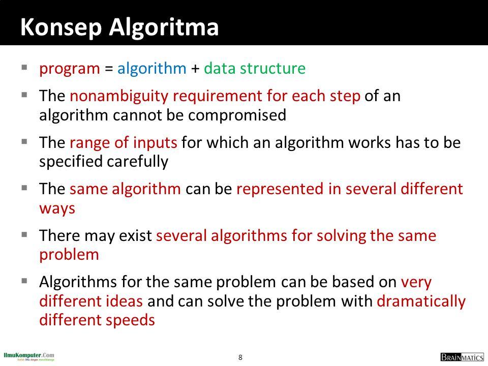 39 Bubble Sort  Pengurutan dengan membandingkan suatu elemen dengan elemen berikutnya  Jika elemen sekarang lebih besar daripada elemen berikutnya maka elemen tersebut akan ditukar  Data yang ingin diurutkan: 34, 86, 15  Catatan: data[i], data[i+1] data[0] = 34 data[1] = 86 data[2] = 15  Menukar data: