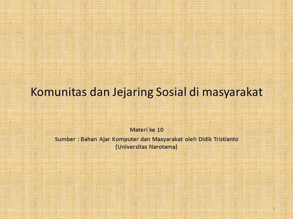 Komunitas dan Jejaring Sosial di masyarakat Materi ke 10 Sumber : Bahan Ajar Komputer dan Masyarakat oleh Didik Tristianto (Universitas Narotama) 1