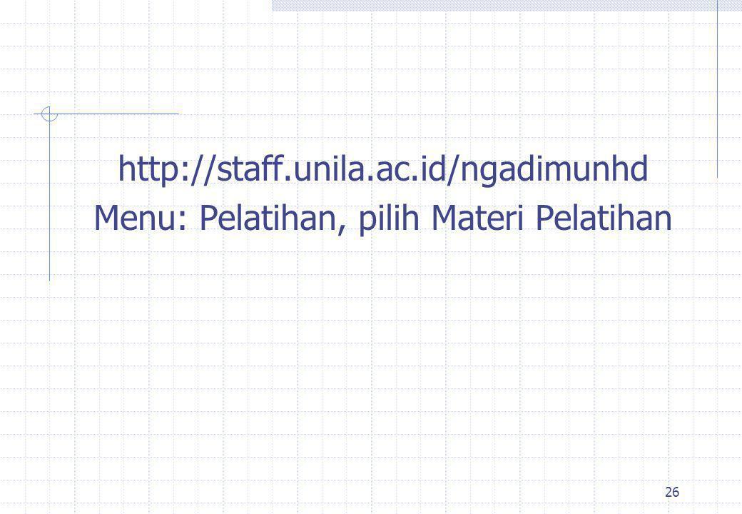 25 Web Site untuk e-Learning www.kuliah.unila.ac.id