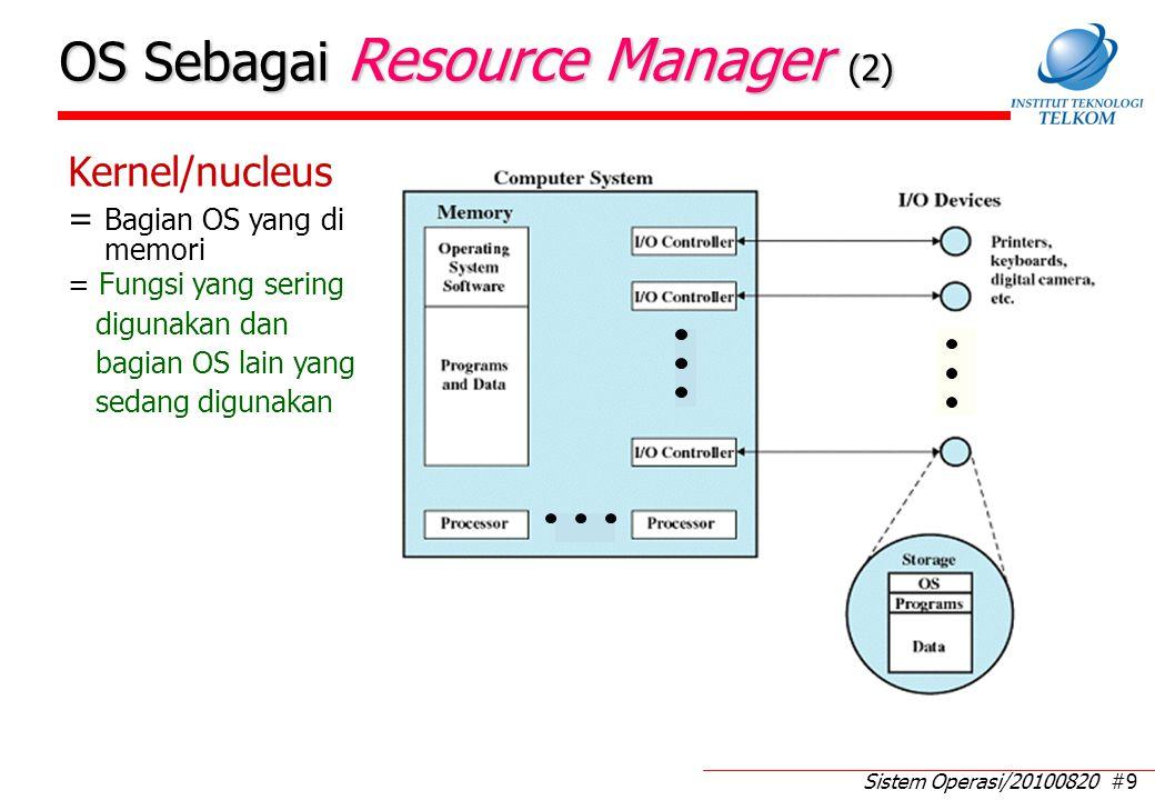 Sistem Operasi/20100820 #9 OS Sebagai Resource Manager (2) Kernel/nucleus = Bagian OS yang di memori = Fungsi yang sering digunakan dan bagian OS lain yang sedang digunakan