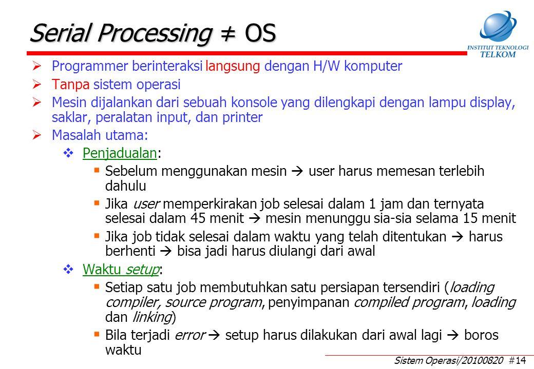 Sistem Operasi/20100820 #14 Serial Processing ≠ OS  Programmer berinteraksi langsung dengan H/W komputer  Tanpa sistem operasi  Mesin dijalankan da