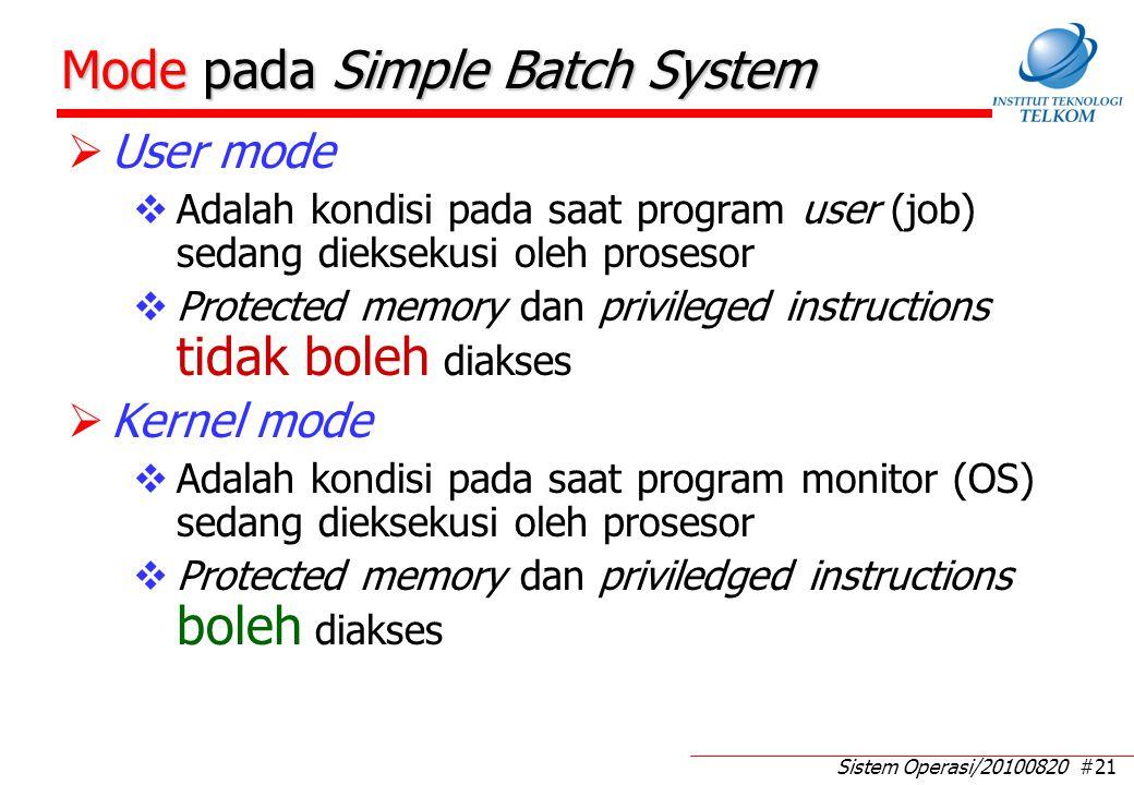 Sistem Operasi/20100820 #21 Mode pada Simple Batch System  User mode  Adalah kondisi pada saat program user (job) sedang dieksekusi oleh prosesor 