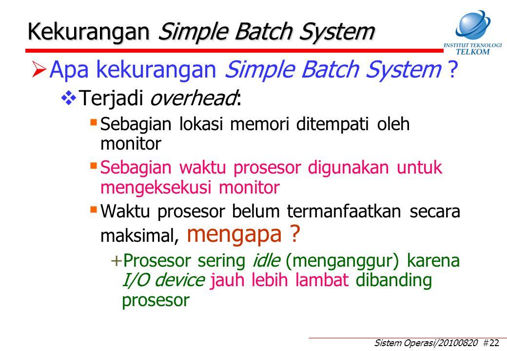 Sistem Operasi/20100820 #22 Kekurangan Simple Batch System  Apa kekurangan Simple Batch System ?  Terjadi overhead:  Sebagian lokasi memori ditempa