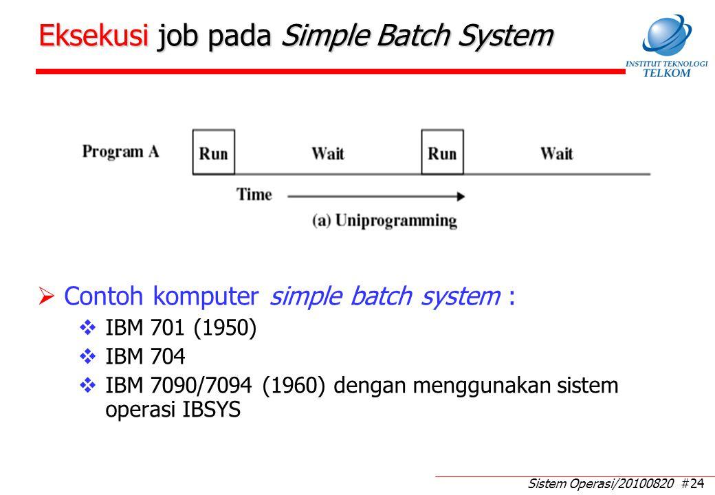 Sistem Operasi/20100820 #24 Eksekusi job pada Simple Batch System  Contoh komputer simple batch system :  IBM 701 (1950)  IBM 704  IBM 7090/7094 (