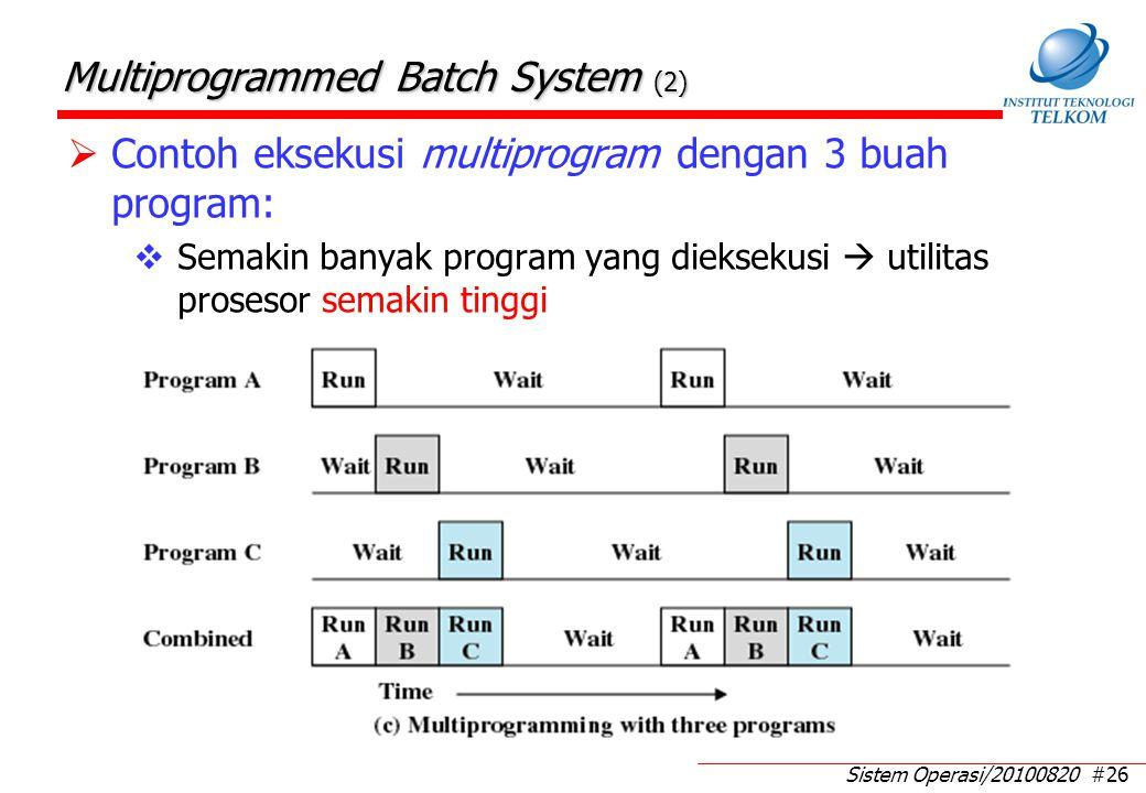 Sistem Operasi/20100820 #26 Multiprogrammed Batch System (2)  Contoh eksekusi multiprogram dengan 3 buah program:  Semakin banyak program yang dieksekusi  utilitas prosesor semakin tinggi