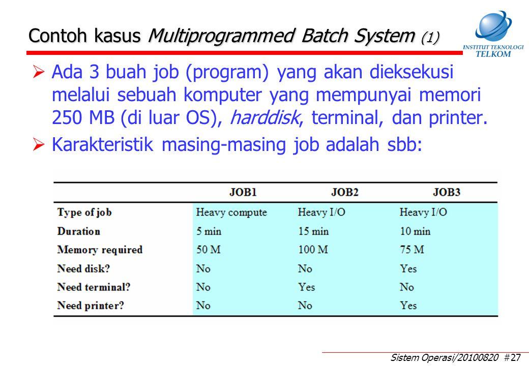 Sistem Operasi/20100820 #27 Contoh kasus Multiprogrammed Batch System (1)  Ada 3 buah job (program) yang akan dieksekusi melalui sebuah komputer yang mempunyai memori 250 MB (di luar OS), harddisk, terminal, dan printer.