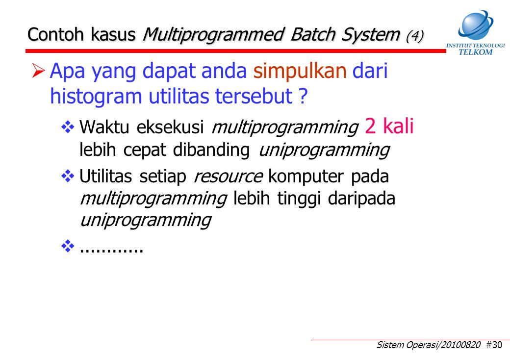 Sistem Operasi/20100820 #30 Contoh kasus Multiprogrammed Batch System (4)  Apa yang dapat anda simpulkan dari histogram utilitas tersebut ?  Waktu e