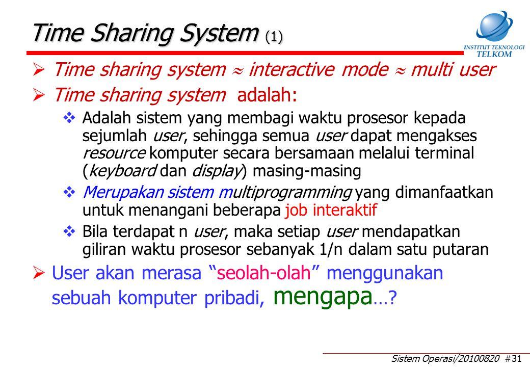 Sistem Operasi/20100820 #31 Time Sharing System (1)  Time sharing system  interactive mode  multi user  Time sharing system adalah:  Adalah siste