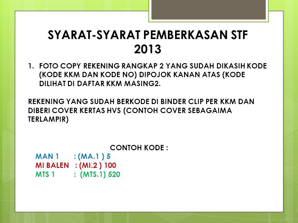 SYARAT-SYARAT PEMBERKASAN STF 2013 1.FOTO COPY REKENING RANGKAP 2 YANG SUDAH DIKASIH KODE (KODE KKM DAN KODE NO) DIPOJOK KANAN ATAS (KODE DILIHAT DI DAFTAR KKM MASING2.
