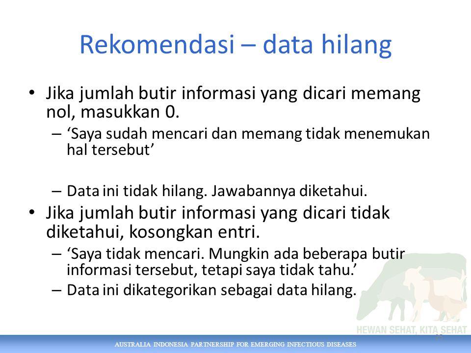 AUSTRALIA INDONESIA PARTNERSHIP FOR EMERGING INFECTIOUS DISEASES Rekomendasi – data hilang Jika jumlah butir informasi yang dicari memang nol, masukkan 0.