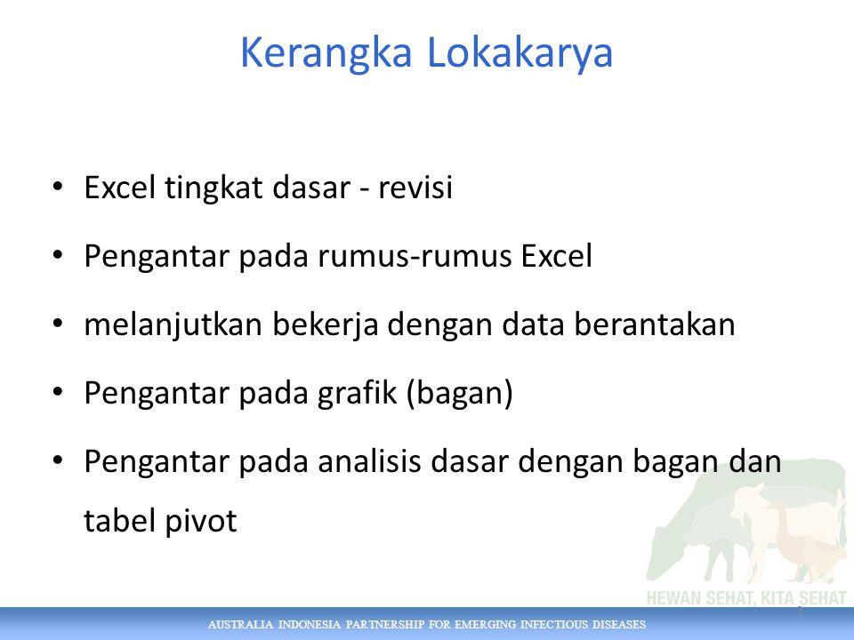 AUSTRALIA INDONESIA PARTNERSHIP FOR EMERGING INFECTIOUS DISEASES Kerangka Lokakarya Excel tingkat dasar - revisi Pengantar pada rumus-rumus Excel melanjutkan bekerja dengan data berantakan Pengantar pada grafik (bagan) Pengantar pada analisis dasar dengan bagan dan tabel pivot 3