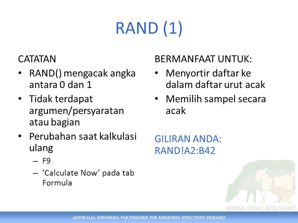 AUSTRALIA INDONESIA PARTNERSHIP FOR EMERGING INFECTIOUS DISEASES RAND (1) CATATAN RAND() mengacak angka antara 0 dan 1 Tidak terdapat argumen/persyara
