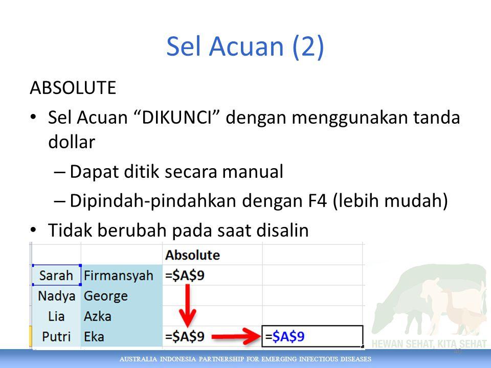 AUSTRALIA INDONESIA PARTNERSHIP FOR EMERGING INFECTIOUS DISEASES Sel Acuan (2) ABSOLUTE Sel Acuan DIKUNCI dengan menggunakan tanda dollar – Dapat ditik secara manual – Dipindah-pindahkan dengan F4 (lebih mudah) Tidak berubah pada saat disalin 40
